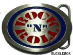 ROCK N ROLL OVAL Belt Buckle + display stand